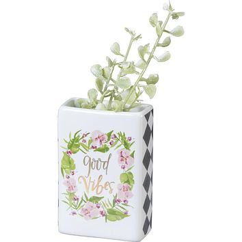 Good Vibes Sentiment With Tropical Flower And Palm Leaf Wreath Design Bud Vase