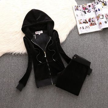 Juicy Couture Simple Pure Color Velour Tracksuit 611 2pcs Women Suits Black