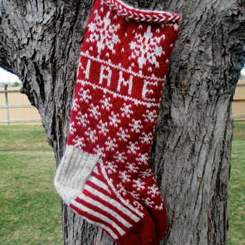 Snowflake Stocking - hand knit, custom name included, made to order