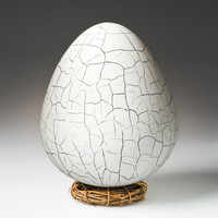 Crackled Dragon Egg by Elodie Holmes: Art Glass Sculpture | Artful Home