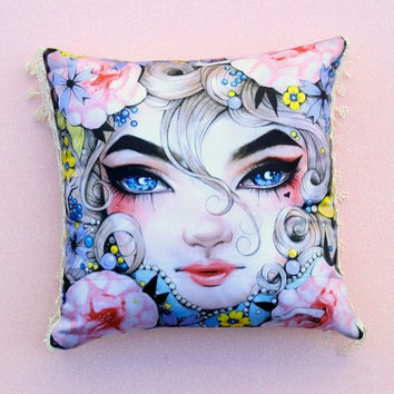 VELVET THROW PILLOW    Boudoir Pillow . Designer Pillow . Doll Face Accent Pillow . Artistic Decorator Pillow . Pidgin Doll Pillow .