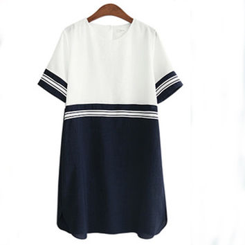 2017 Summer Plus Size 5XL Women Marine Tunic Dress O Neck A line Clothes Tshirt Fringe Loose Shift Ladies female dresses