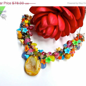 ON SALE ROCK Candy Geode Necklace - Rainbow gemstone jewelry made in Hawaii, yellow druzy cave