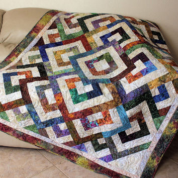 Batik Lap Quilt or Sofa Throw - Green, Brown, Purple and Blue Cotton Batiks - Double Diamond Quilted Throw