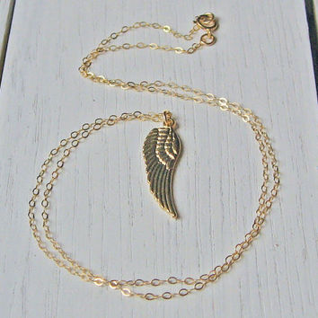 Angel Wing Necklace, 14k Gold Fill, Angel Wing Pendant, Layering Necklace, Delicate Jewelry, Long Necklace, Dainty Thin Chain, Teens Gift
