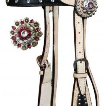 Showman™ double stitched leather browband headstall with pink and clear rhinestone conchos