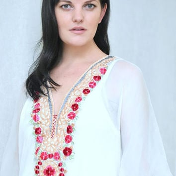 kaftan dress long caftan maxi dress embroidered bohemian dress gypsy caftan in white for beach
