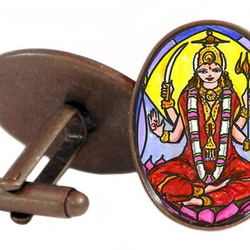 "Goddess Parvati Mother of Ganesh for Love & Devotion 1"" Oval Pair of Cufflinks"