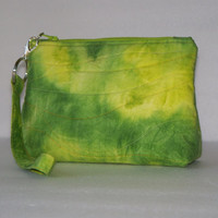 Wristlet Clutch - Hand Dyed Fabric - Lime Green - Zippered Pouch - Cosmetic Bag - Gifts for Her