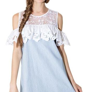 Women Ruffles Lace Insert Contrast Shift Dress Cold Shoulder A-line Mini Dress