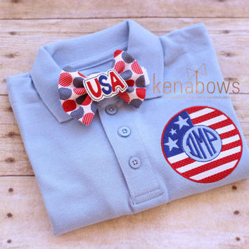 Patriotic Monogrammed Shirt, USA, Military Support, American Flag, Fourth of July Bow Tie, Toddler, Tween Boy, Memorial Day