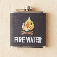 Embroidered Canvas Wrapped Flask - Grey One