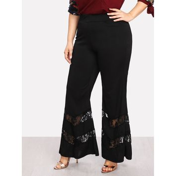 Lace Panel Flare Pants