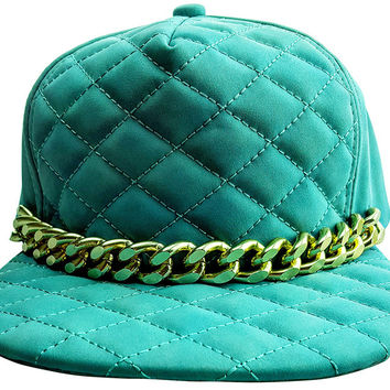 Quilted Tiffany Blue Cap with Large Gold Chain (Unisex)