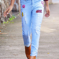 Distressed Jeans w/ Cool Patch Decal