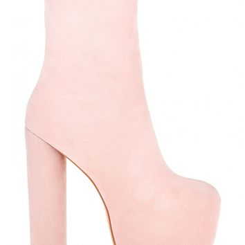 Peace Out Extreme Platform Ankle Boots In Pink Faux Suede