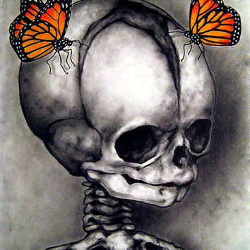 "Print 8x10"" - There is still some life left - Skull Skeleton Butterflies Dark Art Still Life Macabre Horror Gothic Fantasy Surral Haunted"