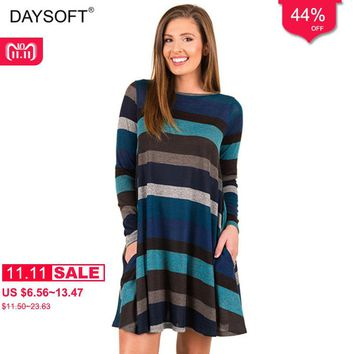 DAYSOFT Sweater Dresses 2019 Pockets Dress Women Nice Christmas Blue Dress for New Year Sexy Fashion Long Sleeve Vestidos Party