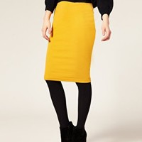 Ribbed Jersey Pencil Skirt