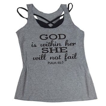 God is Within Her She Will Not Fail. Psalm 46:5 Tank Top