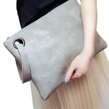 Faux Leather Oversized Clutch