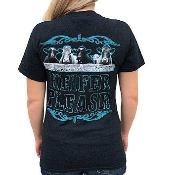 Country Life Southern Attitude Heifer Please Black T-Shirt
