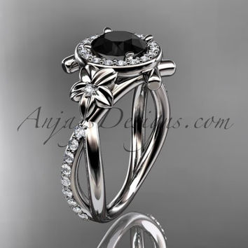 14kt white gold diamond leaf and vine wedding ring, engagement ring with a  Black Diamond center stone ADLR89
