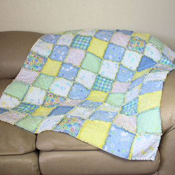 Flannel Baby Rag Quilt - Crib Quilt - Baby Room Decor and Lovey Blanket Set