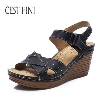 CESTFINI Wedge Sandals 2017 NEW Women High Hells Sandals PU Leather Women Casual Shoes