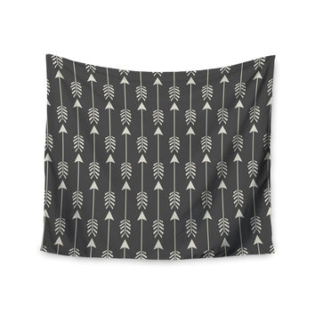 "Amanda Lane ""Tribal Arrows Dark Gray"" Wall Tapestry"