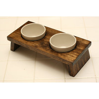 Small dog or cat food and water pet dish pet bowl ceramic walnut double diner feeder designer gourmet