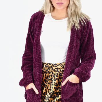 Luxury Chenille Sweater Cardigan {Plum}