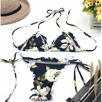 Summer New Fashion Floral Print Wading Sports Swimsuit Straps Two Piece Bikini Women