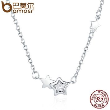 Genuine 925 Sterling Silver Double Sparkling CZ Star Women Pendant Necklaces for Women Authentic Silver Jewelry PSN020