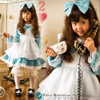 Alice In The Wonderland Cosplay Costume Alice Halloween Long Sleeve Dress For Kids New Free Shipping Height 90cm-140cm