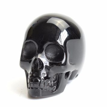 Skull Skulls Halloween Fall 1.9 INCHES Natural Chakra Black Obsidian Carved Crystal Reiki Healing Human  Model Statue with a Velvet Pouch Calavera