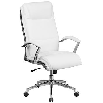 High Back Designer Leather Executive Swivel Office Chair with Padded Arms and Chrome Base