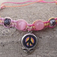 Steal Your Peace Sign Grateful Dead Stealie Hemp Anklet   handmade jewelry  hippie
