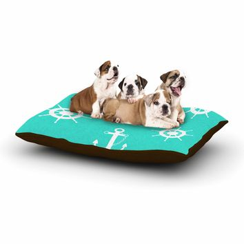 "afe images ""Anchor And Helm Wheel"" Teal White Illustration Dog Bed"