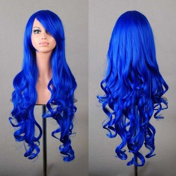 """MapofBeauty 32"""" 80cm Long Hair Spiral Curly Cosplay Costume Wig (Dark Blue)"""