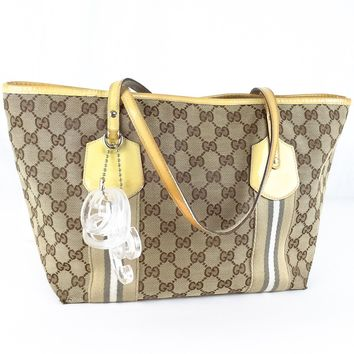 Auth GUCCI GG Pattern Canvas Tote Bag Purse Brown Yellow with Charm