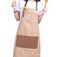 Aprons For Men And Women With Leather Pocket - Chef Kitchen Canvas Hairstylist Apron - Beige