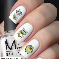 Floral Owl nail decal