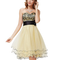 Strapless High-Waist Pleated Short Champagne Dress