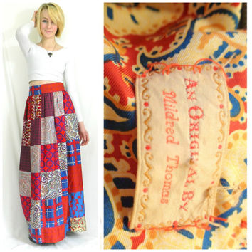 Vintage quilted paisley maxi handmade skirt high waisted bohemian long skirt red quilted floor length folk gypsy size small/extra small