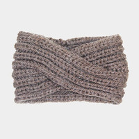 Women's Taupe Soft Knit Twist Ear Warmer Headband Head Wrap  Winter Accessories Headbands