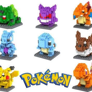 Pokemon Figures Model Toys Pikachu Charmander Bulbasaur Squirtle Mewtwochild Eevee Child Christmas gift 9+ Anime Building Blocks = 1946697476