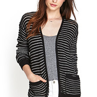 FOREVER 21 Textured Knit Striped Cardigan Black/Cream