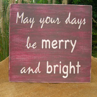 Wooden Signs Quotable Home Decor-MERRY and BRIGHT-Wooden Signs, Holiday Decor, Gifts for Her,Red Home Decor,Festive Wooden Sign, Inspiration