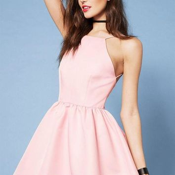 LMFOK3 Casual Pink Spaghetti Strap Backless Halter Dress